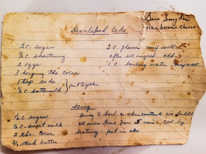 Old handwritten recipe for chocolate cake
