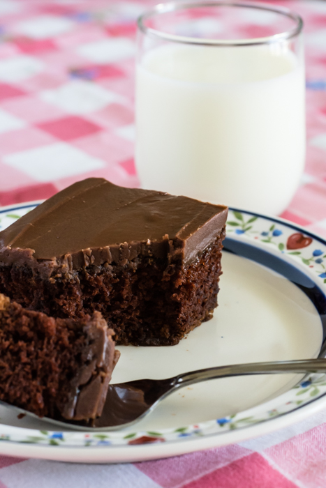 Square piece of chocolate cake with fudge icing
